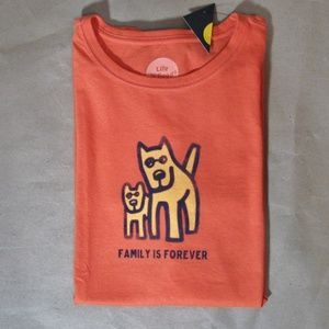 Life is Good FAMILY IS FOREVER Dog Orange Shirt Sm